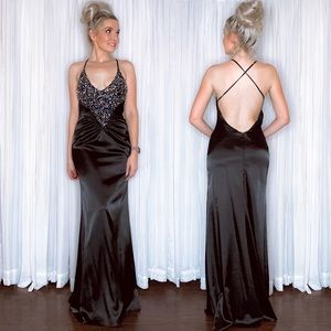 Faviana Long Black Open Back Homecoming Prom Dress